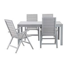 FALSTER Ulkokalustesetti (pöytä/4 sääd tu) - harmaa - IKEA