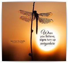 dragonfly When you believe, signs turn up everywhere Great Quotes, Quotes To Live By, Me Quotes, Inspirational Quotes, Meaningful Quotes, Strong Quotes, Motivational, Positive Thoughts, Positive Quotes
