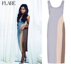 Mindy wears this colorblock dress in her Flare magazine photoshoot.//// Marc Jacobs Wool Blend Colorblock Dress - $1,946