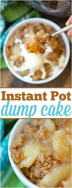 This 3 ingredient easy Instant Pot dump cake is delicious and can be made with any fruit! Just dump it in to cook for 12 minutes and top it with ice cream! via @thetypicalmom #instantpot #dumpcake #cake