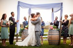 First kiss and they are in bliss! #santabarbaraevents #wineryweddings #true love Amazing photos taken by http://wordenphotography.pass.us/ www.cateringconnection.com