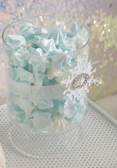blue meringue, great for winter themed party.