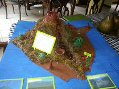 Volcano Homework - my son's 5th grade project. Mauna Loa Volcano. Tons of clay, paint, a plastic water bottle, patience and time...very fun family project.