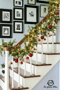 Simple garland with lights and Christmas ball ornaments