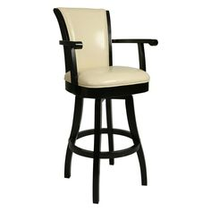 Impacterra Glenwood 30 in. Swivel Bar Stool with Arms - Feher Black Cream Leather - QLGL217227866
