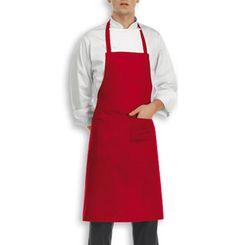 Falda con Pettorina per Cuoco Rosso, con grande tasca in 35% poliestere e 65% cotone. Taglia Unica, disponibile nel colore Rosso per le festività di Natale.