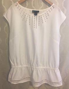 Lane Bryant Plus Size 16 White Peplum Cinched Waist Ruffle Cutouts Shirt Tunic #LaneBryant #Blouse