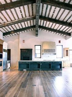Reclaimed Wood Flooring from Heritage Salvage : Remodelista# Steel Building Homes, Building A House, Barn Style House Plans, Dark Wood Cabinets, Slow Design, Barn Kitchen, Interior And Exterior, Interior Design, Barn Renovation
