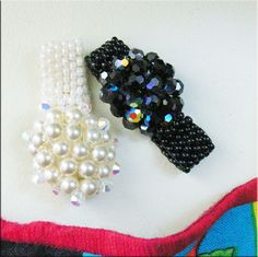 Black Crystal and Pearl Dome Beaded Rings | JewelryLessons.com