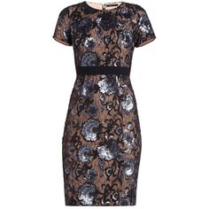 KRISTAN SHORT-SLEEVE SHEATH DRESS ($438) ❤ liked on Polyvore featuring dresses, short sleeve floral dress, sequin dress, floral sheath dress, floral print sheath dress and lace dress