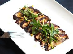 fancy, fancy: miso-marinated portobello mushroom carpaccio.  (would probably be nearly as good as a salad, without the fancy slicing!)