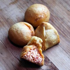 Craving Comfort: White Trash Balls-a pack of pepperoni, a pack of cream cheese, and Crescent Dinner Rolls You bake these.