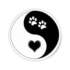 Yin Yang Heart and Dog Paws Stickers - Dog Tattoos, Cute Tattoos, Dog Paw Drawing, Yin Yang Art, Dainty Tattoos, Dog Paws, Beagle Dog, Rock Painting Designs, Yin Yang Tattoos
