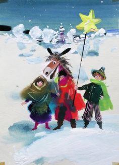 ilustracja dla dzieci: Janusz Grabiański Christmas Horses, Children's Book Illustration, Book Illustrations, Retro Images, Art Deco Posters, Art Deco Period, Vintage Christmas Cards, Vintage Children, Drawings