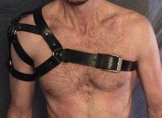 Includes FREE 2-DAY SHIPPING!!!  BRAND NEW hand-crafted with 100% black cowhide leather thats polished , detailed and constructed using pewter tinted nickel-plated studs. Adjustable straps on chest and arms. I custom build each harness to order so sizing depends on the customers preference. I use measurements sent by the customer to create a harness to fit a specific size. I can also make the harness adjustable because I use a screw type rivet system to attach some of the key pieces. By…