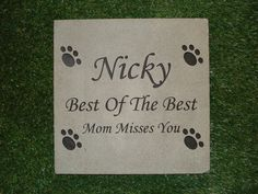 """Pennsylvania Bluestone All Natural 12"""" x 12"""" x 1"""" Script Text Pictured, Pawprints Pictured, Free Shipping, Ships In 2 - 3 Days"""