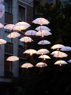 2014 street lights wedding umbrella, white wedding umbrella.
