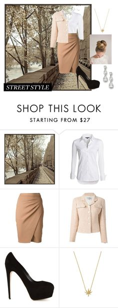 """""""street fashion"""" by kayumbatia ❤ liked on Polyvore featuring Universal Lighting and Decor, NIC+ZOE, L'Agence, Chanel and Brian Atwood"""