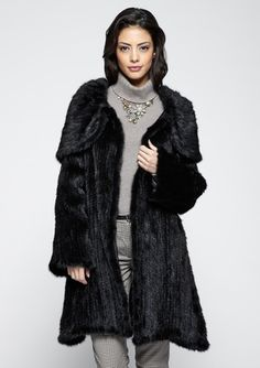 Not quite sure what's going on with the caplet around the shoulders but like the hem; not too full around the bottom.  On ideel: AVANTE Knit Mink Full Length Hooded Coat