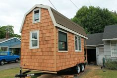 April's tiny home may look small and simple from the outside...