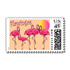 Tropical Flamingo Art Gifts Postage by gailg1957