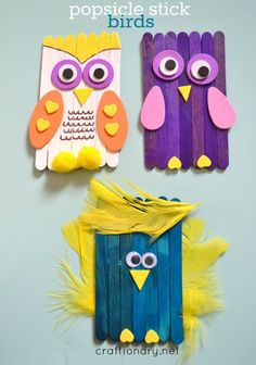 Make DIY bird craft using popsicle sticks for kids. Fun dollar store craft that…