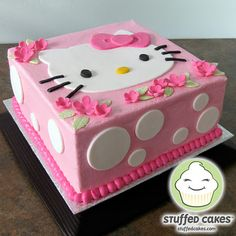 Stuffed Cakes: Hello Kitty Cake Fondant face on buttercream!!
