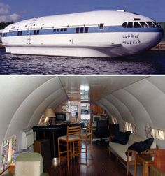 Cosmic Muffin Boeing Houseboat~~~It started as a 1930s Boeing Stratoliner, owned by Howard Hughes. The tail and wings were cut off to transform it into the houseboat it is today, dubbed Cosmic Muffin and based in Fort Lauderdale, Florida.