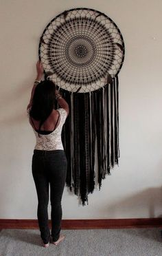 Dreamcatcher black dream catcher wall hanging large dream catcher large dream catcher bohemian decor boho decor wall art gift for her Grand Dream Catcher, Black Dream Catcher, Large Dream Catcher, Dream Catcher Boho, Dream Catcher Bedroom, Beautiful Dream Catchers, Bohemian Wall Decor, Boho Wall Hanging, Boho Bedroom Decor