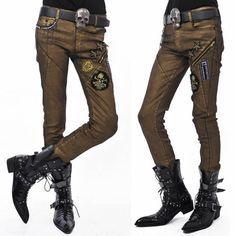 Men Metallic Gold Slim Fit Boot Cut Gothic Punk Rock Fashion Pants SKU-11404247