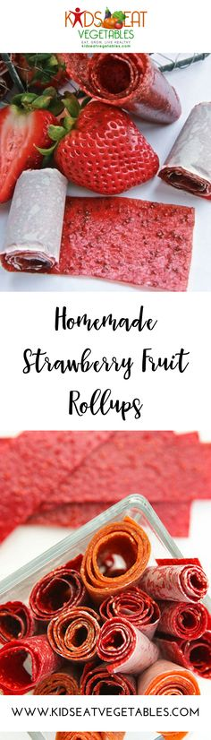 The real beauty of these homemade strawberry fruit roll-ups besides tasting amazing and looking amazing (checkout out those natural strawberry seeds!), is that they are made with simply fresh fruit and sugar (if you choose). Dry Snacks, Easy Snacks For Kids, Healthy Meals For Kids, Kids Meals, Healthy Snacks, Healthy Sweets, Clean Eating Vegetarian, Fruit Roll Ups, Strawberry Fruit