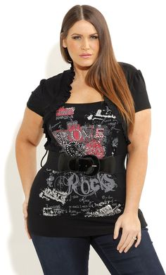 City Chic - LOVE GRAFFITI SHRUG - Women's plus size fashion