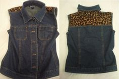 Adding a fabric panel to a denim vest, all with out sewing! Step by step tutorial