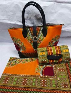 Orange dashiki african wax quilting fabric match african fabric bags and clutch for african party sets