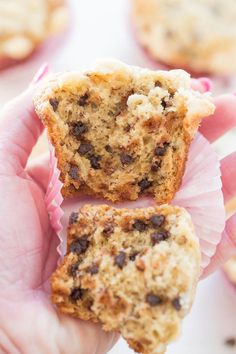 Banana Chocolate Chip Streusel Muffins - Soft, tender, studded with chocolate chips, and topped with streusel!! EASY, no-mixer recipe! They could pass as dessert they're SO GOOD!!
