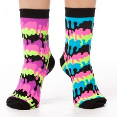 Dripping Stripes Ankle Socks  Drips and drips of paint in bright neon colors creates this cool melting stripes pattern! Bold black with vibrant pink, blue, green and yellow will add a little bit of funky  #Funkysocks