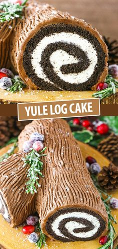 You Won't Believe How Easy it is to Make this Chocolate Yule Log Cake! This classic Yule Log Cake has tender chocolate sponge cake filled with mascarpone whipped cream and covered with whipped chocolate ganache! Christmas Yule Log, Christmas Snacks, Christmas Cooking, Simple Christmas, Christmas Parties, Christmas Holiday, Baking For Christmas, Winter Parties, White Christmas