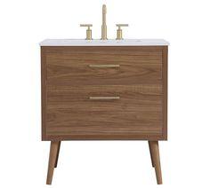 30 Inch Bathroom Vanity, 30 Vanity, Double Sink Vanity, Mid Century Bathroom Vanity, Master Bathroom, Vanity Tops, Hall Bathroom, Porcelain Sink, Free Interior Design