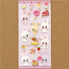 kawaii rabbit puffy stickers with sweets @modes4u
