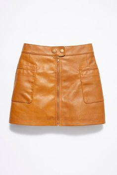 5d8c14c32d47 Slide View 5: High Waist A-line Vegan Skirt Casual Shorts, Leather Skirt