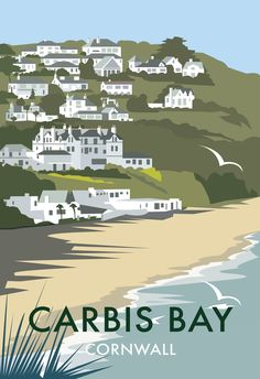 Carbis Bay, Cornwall coastal travel poster by Dave Thompson Posters Uk, Railway Posters, Retro Posters, British Travel, British Seaside, Portsmouth, Vintage Films, Art Graphique, Travel Images