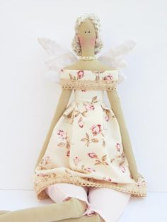 Pretty fabric doll in rose dress Angel Fairy blonde cloth doll,art doll cute stuffed doll, rag doll - Collectible shabby chic gift for girls. via Etsy.