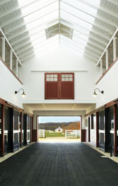 Crisp modern look with WIDE aisles!  Sagamore Farm, Maryland.