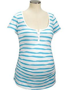 Maternity Striped Slub-Knit Henleys | Old Navy