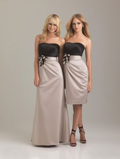 2012 Allure Bridesmaids - Cappuccino & Black Satin Strapless Fitted Bow Bridesmaid Dress - 2 - 28