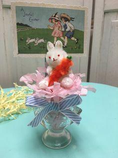 Easter Vintage egg cup vintage chenille bunny by madigansbbfl