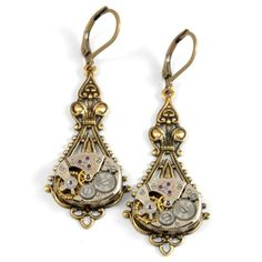 Steampunk Jewelry Earrings Steampunk Vintage Watch Earrings Antique... ❤ liked on Polyvore