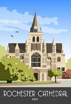 A view of Rochester Castle Cathedral drawn in a poster style Rochester Cathedral, Rochester Castle, Rochester Kent, Cathedral Architecture, Travel Sketchbook, Tourism Poster, National Park Posters, Railway Posters, Art Uk