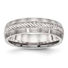 Chisel Brushed with Silver D/C Inlay Ring - Sizes 8 - 13, Men's