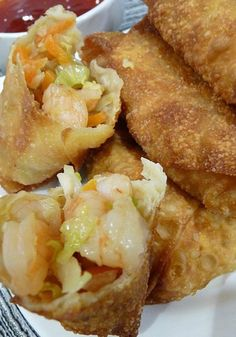 Shrimp Egg Rolls _ I've made these for many people & been asked many times for the recipe. I have tweaked it some, & have made it so many times, I think of it as my own. These are so good, & the best egg rolls ever! This will become your go to recipe! Egg Roll Recipes, Fish Recipes, Seafood Recipes, Asian Recipes, Appetizer Recipes, Cooking Recipes, Ethnic Recipes, Chinese Recipes, Asian Foods